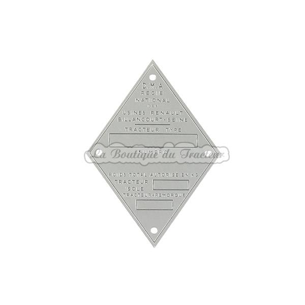 plaque d identification renault en aluminium. Black Bedroom Furniture Sets. Home Design Ideas
